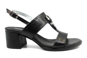 Sandali-scarpe-da-donna-Nero-Giardini-E012264D-casual-tacco-basso-pelle-estivi