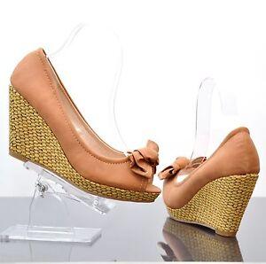 Escarpins Femme Talon Compense Sandale 37 Marron Beige Semelle Tresse Bambou