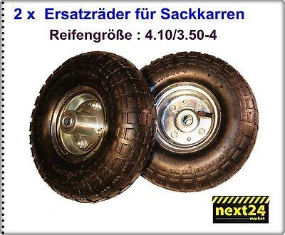 2 x  Rad Sackkarrenrad Luftreifen 260mm 4.10/ 3.50-4 Sackkarrenräder Räder