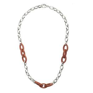 Damen-Halskette-echt-Silber-925-Sterlingsilber-mit-Holzglieder-44-cm-lang-Kette