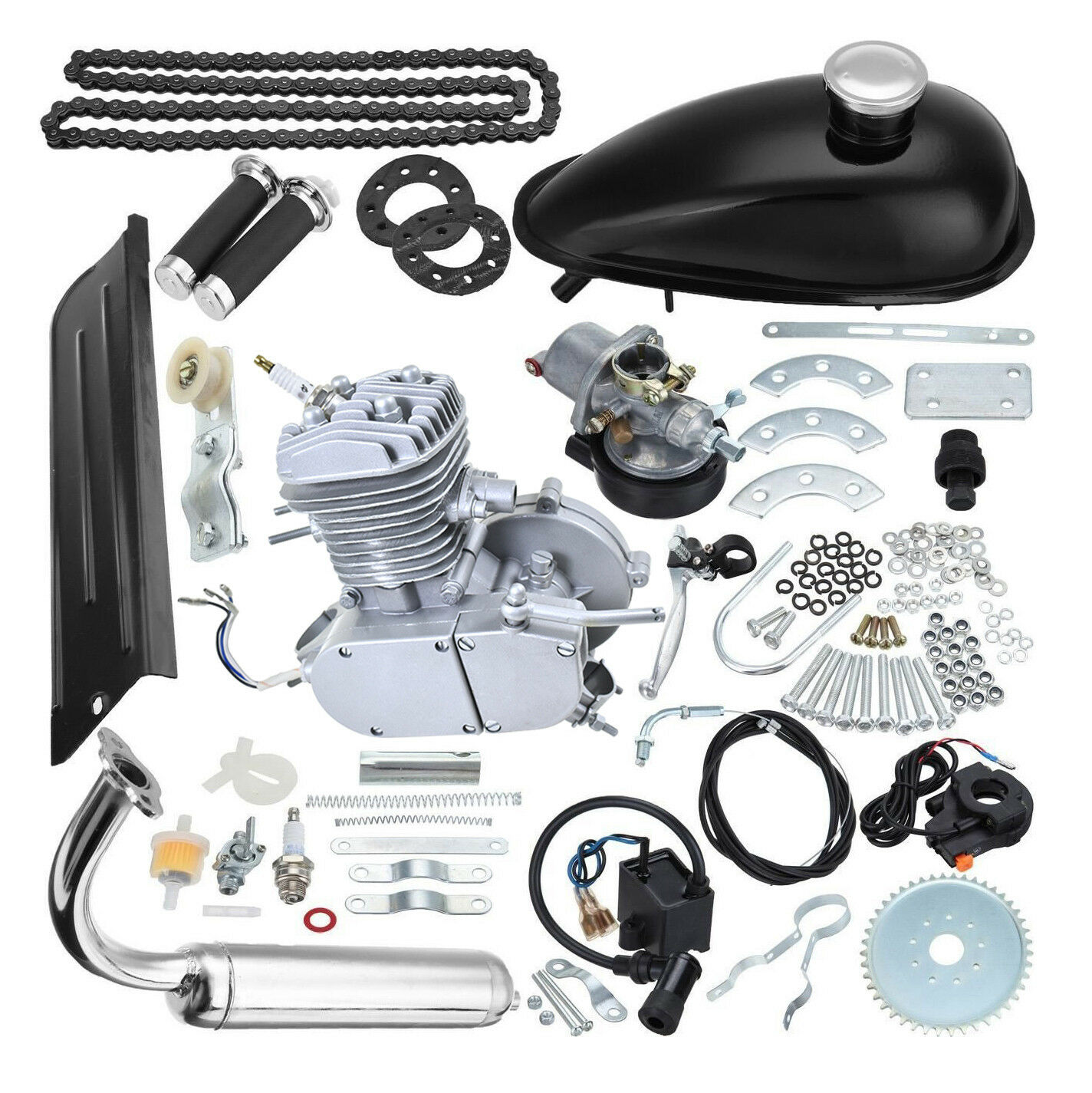 80cc 2 Stroke Gas Engine Motor Kit Fuel Motorize Bicycle Cycling US