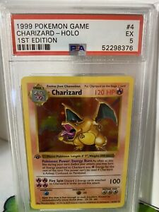 PSA-5-CHARIZARD-1999-Pokemon-Base-1ST-EDITION-THICK-STAMP-SHADOWLESS-Holo-EX