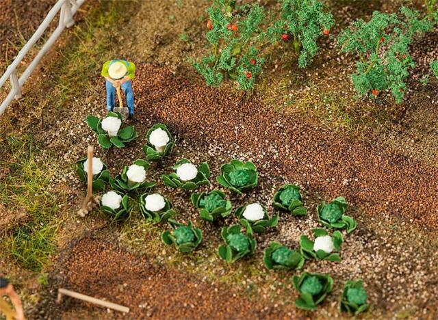 Faller x10 Each of Green Cabbage and Cauliflower Plants 181257HO Scale (suit OO)