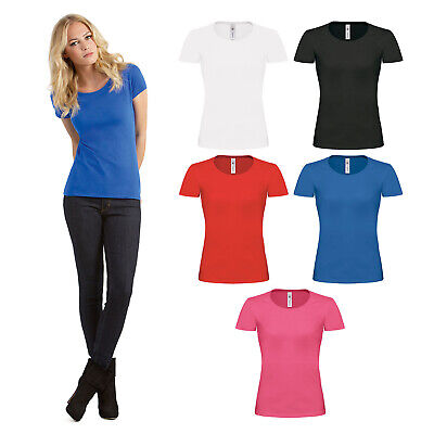 B&C Collection Women's Exact 190 Top TW041 Ladies Fitted Plain Cotton T Shirt | eBay