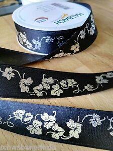 3 M Deuil Conjonctif Deuil Boucle Lierre 25 Mm Large Trauerband Noir Bande Argent-afficher Le Titre D'origine