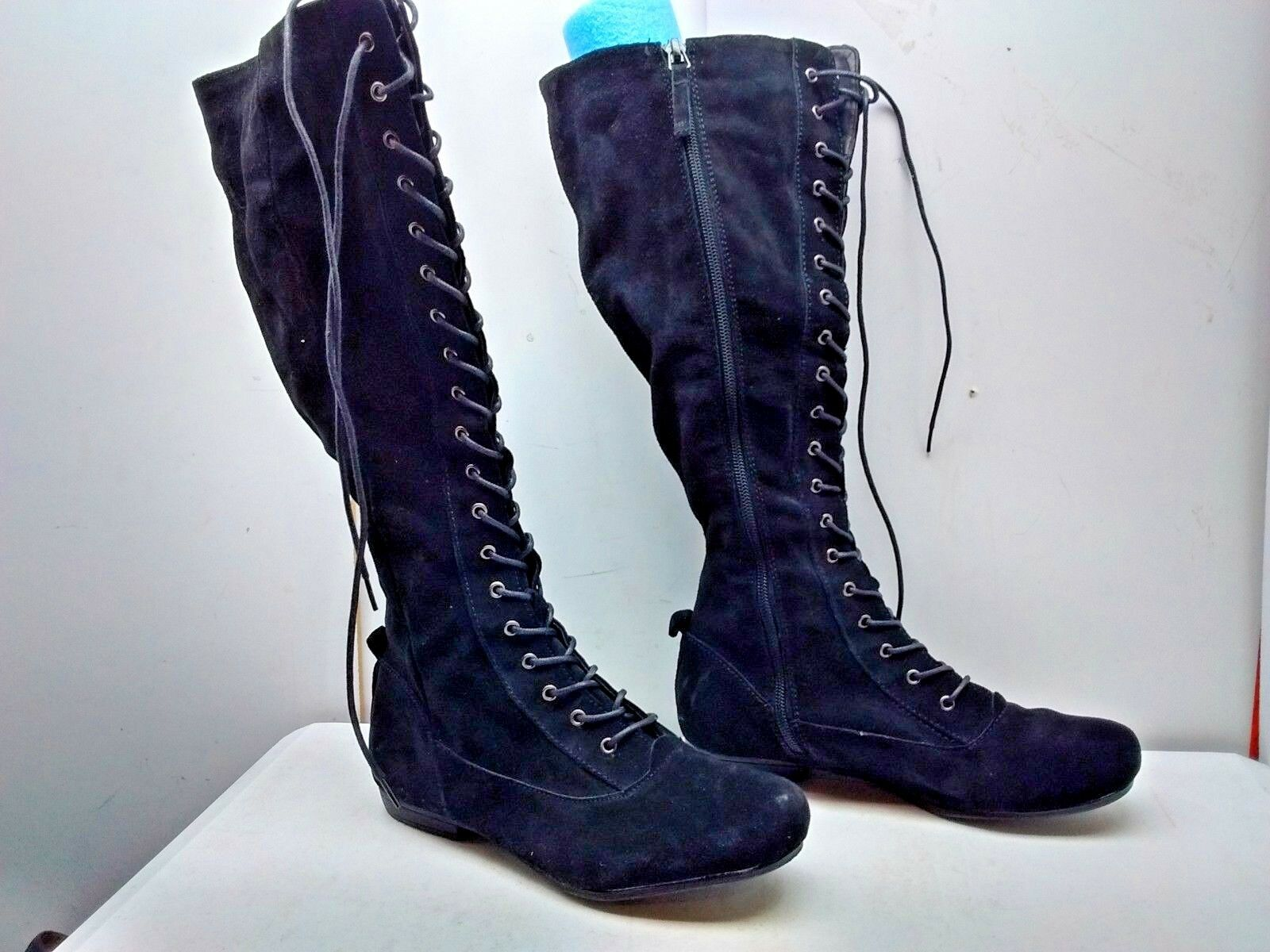 Nine West Casilda  nero Leather Knee High Tall Lace Zip avvio scarpe donna 7M