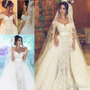 Details About Over Skirts With Detachable Train Pearls Mermaid Bridal Gown Dubai Wedding Dress
