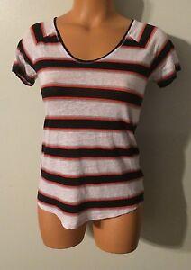 57e19f1e747d Women s JCP JCPenney Size Small Blouse SS Linen Shirt Striped V Neck ...