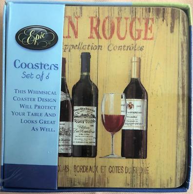 Epic Vin Rouge Coasters Set Of 4 Wine Bottles Wine Glass Design Cork Backed Ebay