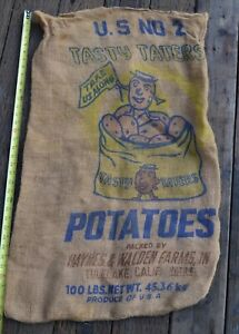 Vintage-Tasty-Taters-Haynes-amp-Walden-Farms-Tulelake-Calif-Potatoes-Sack-Burlap