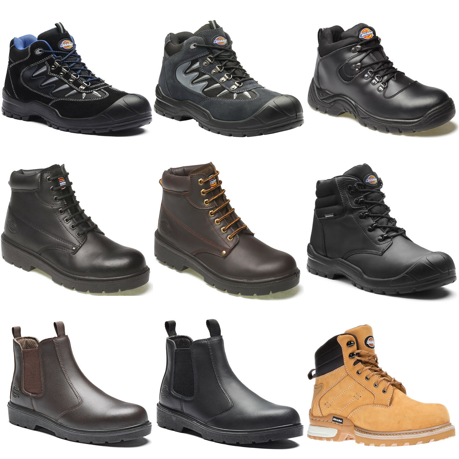 Dickies Safety Safety Dickies Work Boots Shoes Hiker (Various Sizes) Men's Black Brown Tan Grey eb3438
