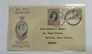 1953-Malaya-Singapore-QE-Queen-Elizabeth-II-Coronation-2-Stamp-Private-Cover-FDC