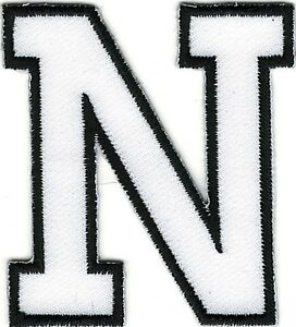 USA Seller! or Gold Embroidered Block Letters Iron on Letters White Blk