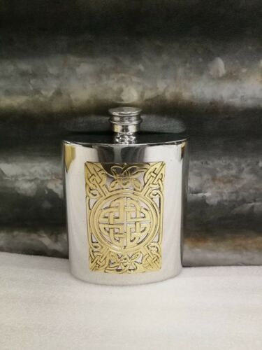 6oz Kidney pewter flask with decorative celtic brass etching Columbia