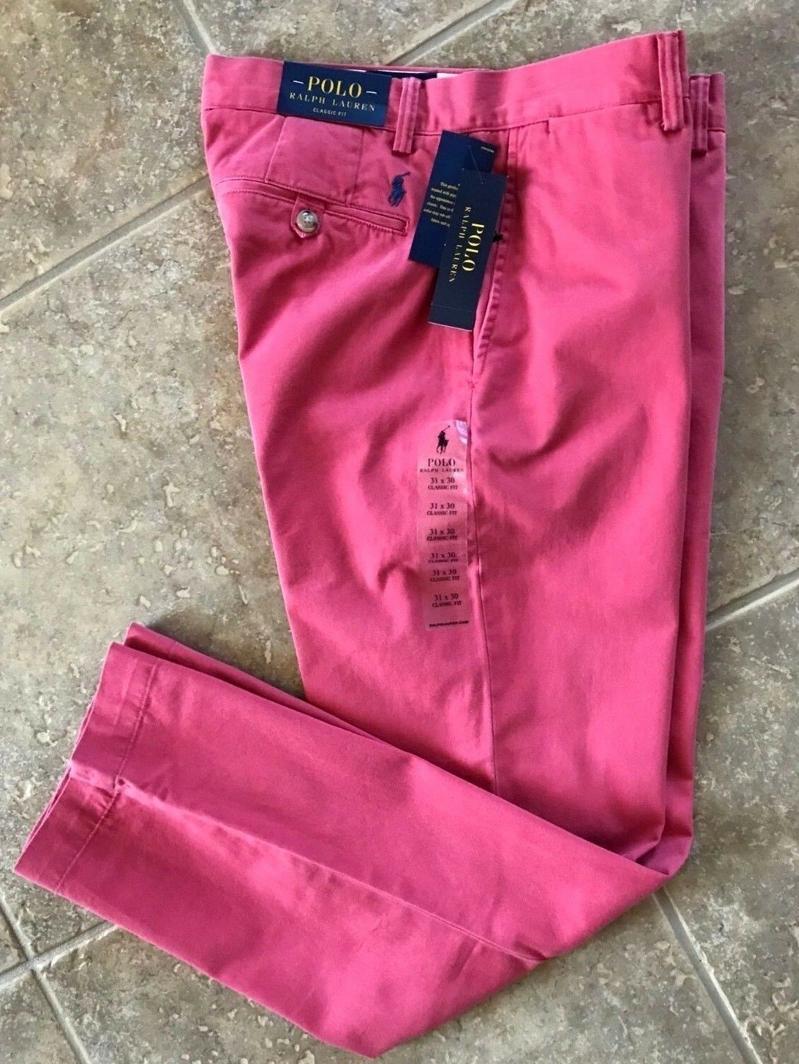 Pants NEW Polo Ralph Lauren Chinos Classic Fit  Flat Front  *Nantucket Red*