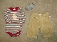 EUC Gymboree Holiday Friends Outfit Shirt Pants Socks Size 3-6 3 6 Months