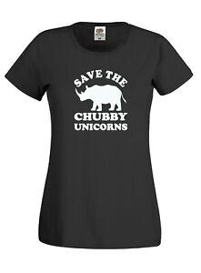 Save-The-Chubby-Unicorn-Ladies-Womens-Cotton-Tee-Shirt-Tshirt-T-Shirt-New