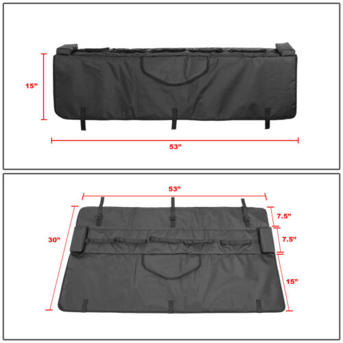 "Waterproof 53/""W Pickup Truck Bed Tailgate Crash Pad Protector Cover w//Bike Racks"