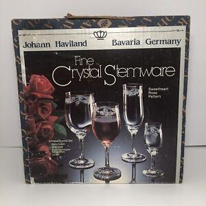 Johann-Haviland-Fine-Crystal-Stemware-4-Piece-Set-Sweetheart-Rose-Pattern