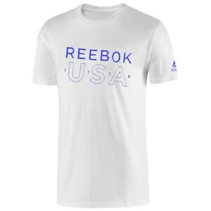 Reebok-Men-039-s-CrossFit-034-USA-034-Logo-T-Shirt-White-BI0154