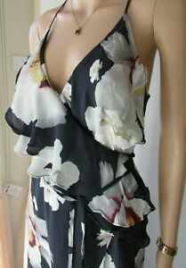 INTERMIX-sz-10-S-Maxi-SILK-WRAP-Dress-Summer-Cocktail-Resort-Cruise-rrp-349