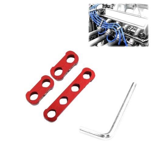 3PCS Red Aluminum Engine Spark Plug Wire Separator Divider Organizer Clamp Kit