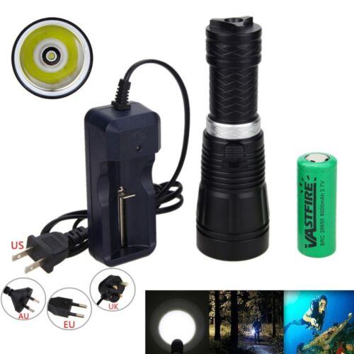 Underwater 100m 10000LM XM-L T6 LED Diving Aluminum Flashlight Torch 26650 Light