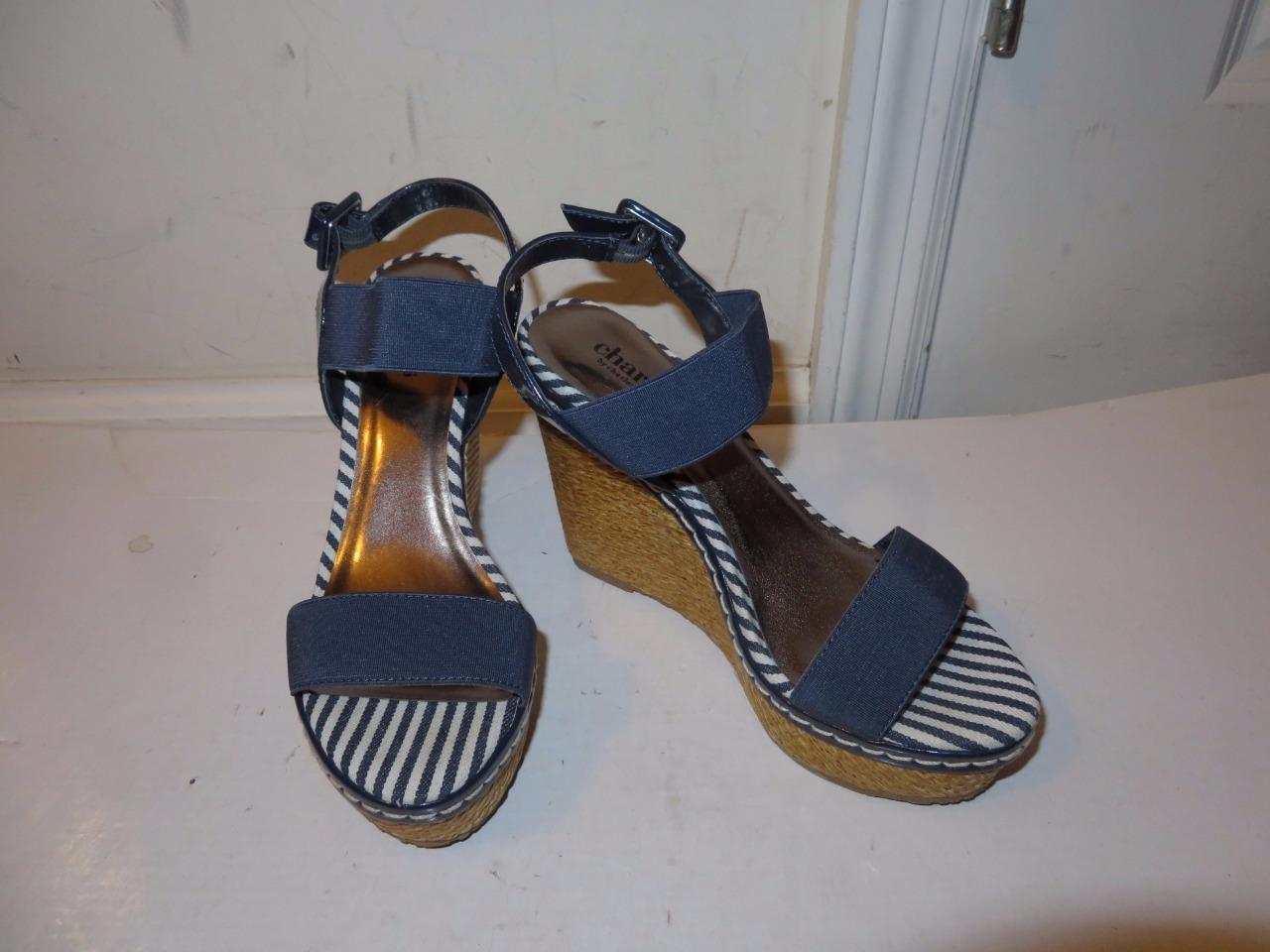 WOMENS CHARLES BY CHARLES DAVID NAVY blueE CANVAS WEDGES W ANKLE BUCKLE SIZE 6M