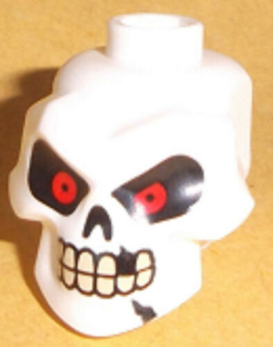 Cracks and Missing Tooth Pattern Lego Minifig Skull x 1 with Red Eyes