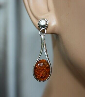 BALTIC AMBER EARRINGS UNIQUE GREEN COLOR 925 STERLING SILVER PENDANT AVAILABLE