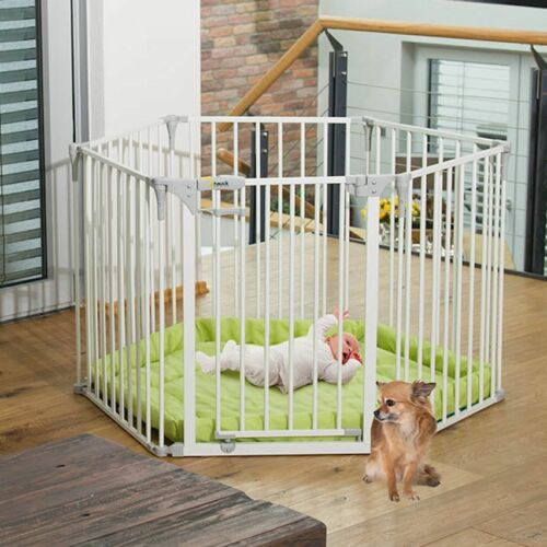 1 of 1 - HAUCK BABY PARK PLAYPEN / STAIR GATE / FIRE GUARD / DIVIDE - WHITE WITH PLAYMAT