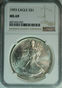 1993-Silver-American-Eagle-Dollar-One-Troy-Ounce-NGC-MS69