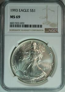 1993-Silver-American-Eagle-Dollar-One-Troy-Ounce-NGC-MS69-w-bonus-round