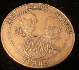37 Year Alcoholics Anonymous AA METAL Medallion Coin Token Chip