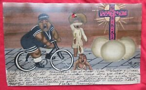 Mexican-Folk-Art-Bizarre-Ugly-Baby-Almost-Hit-By-Bicycle-Ex-Voto-Retablo