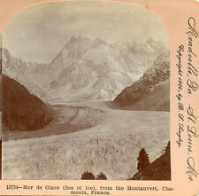 MER DE GLACE (SEA OF ICE) FROM MONTANVERT CHAMONIX FRANCE STEREOVIEW 1900