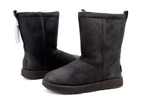 Details about UGG CLASSIC SHORT LEATHER WATERPROOF SHEEPSKIN BLACK WOMEN'S BOOTS SIZE 9.5 US