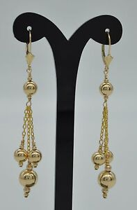 New 14K Solid Yellow Gold 8mm Shiny /& 6mm corrugated Bead Drop Dangle Earrings