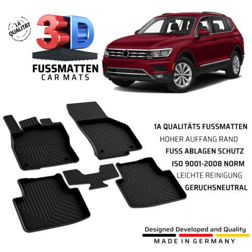 VW Tiguan Gummifussmatten Bj ab 2016 Komplett Set Allwetter Fußmatten 2.Gen