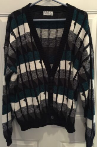 Vintage Area By Tag mens XL Hipster Retro Cardigan 70-80 Acrylic Chest 54