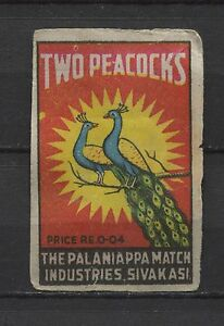Details about Two Peacocks The Palaniappa Match Sivakasi Indian Vintage  Matchbox Label