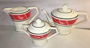 Vintage-1950s-Art-Deco-Sail-Coffee-Carafe-Tea-Pot-Sugar-Bowl-Mid-Century-MCM