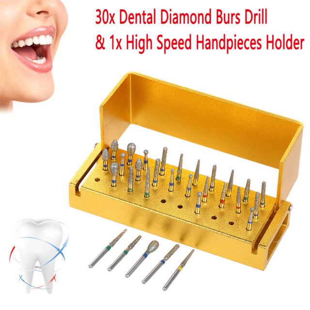 30stk Dental Zahnarzt Diamant Bohrer Burs High Speed mit 1x Desinfektion Ständer