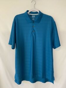 Adidas-Mens-Collared-Golf-Shirt-Size-L-Blue-Striped-Climacool-Short-Sleeve