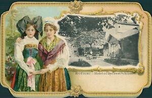 Ansichtskarte-Rothau-Hotel-zu-den-zwei-Schluesseln-Rand-gepr-Tracht-Nr-9044-II