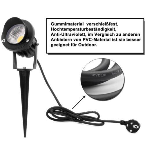 LED COB Gartenstrahler Erdspieß Außenleuchte Warmweiß IP65 mit Gummi Kabel 5W