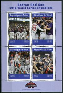 Tchad 2019 Cto Boston Red Sox World Series 2018 4 V M/s Baseball Sports Timbres Avec Les éQuipements Et Les Techniques Les Plus Modernes