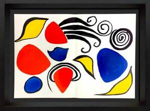 Alexander-CALDER-Original-COLOR-Double-Lithograph-1975-w-Frame-Included
