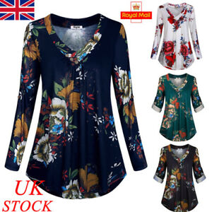 676132365f25f UK Womens V Neck Blouse Ladies Long Sleeve Casual Floral Shirt Tops ...