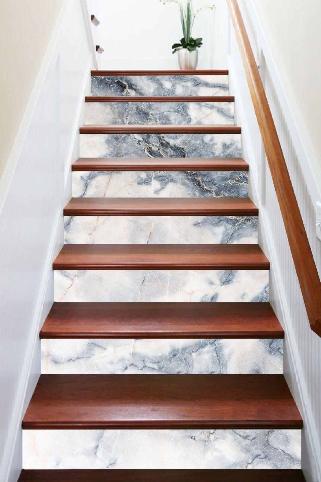 3D Grey White Texture 1 Tile Marble Stair Riser Decoration Mural Vinyl Wallpaper